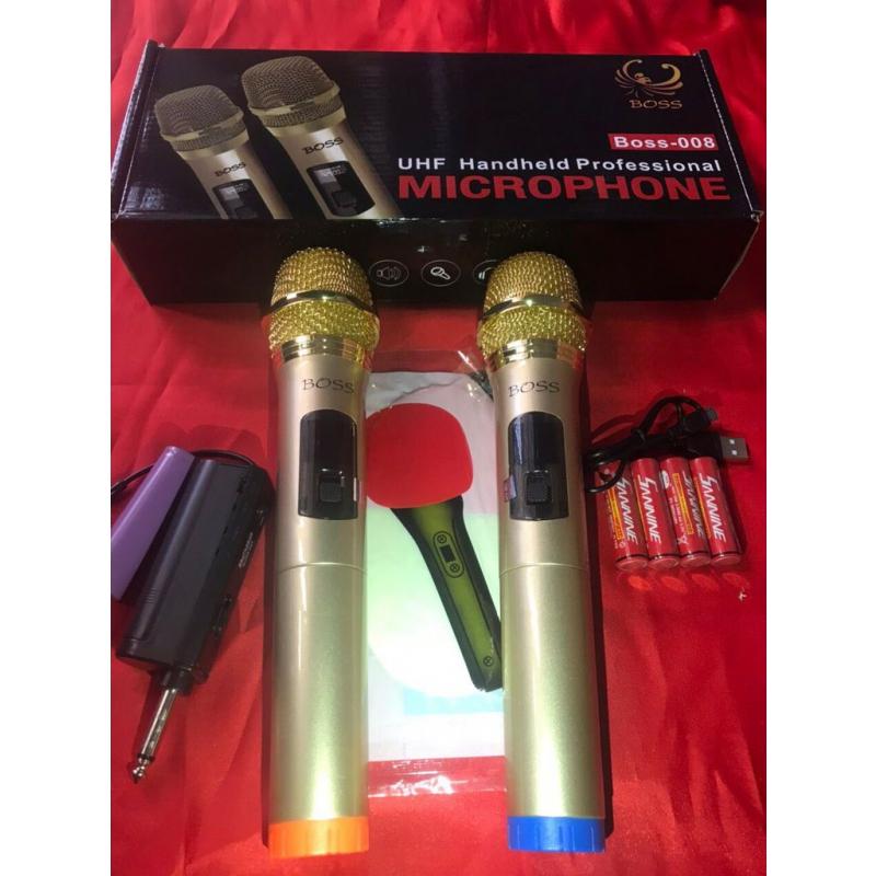 Bộ micro đa năng 2 mic không dây UHF 008